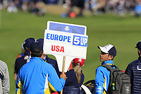 Tommy Fleetwood and Francesco Molinari (Team Europe) match on the 10th hole during Saturday's Foursomes Matches at the 2018 Ryder Cup 2018, Le Golf National, Ile-de-France, France. 29/09/2018.<br /> Picture Eoin Clarke / Golffile.ie<br /> <br /> All photo usage must carry mandatory copyright credit (&copy; Golffile | Eoin Clarke)
