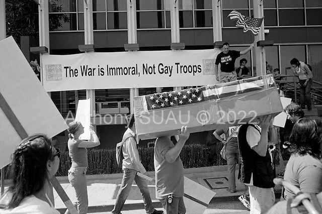 Los Angeles, California.USA.March 17, 2007..Demonstrators march through Hollywood to protest the fourth anniversary of the war in Iraq  as others stand up for gays in the military.
