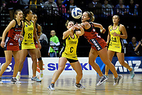 Pulse&rsquo; Claire Kersten and Tactix&rsquo; Charlotte Elley in action during the ANZ Premiership - Pulse v Tactix at TSB Arena, Wellington, New Zealand on Monday 14 May 2018.<br /> Photo by Masanori Udagawa. <br /> www.photowellington.photoshelter.com