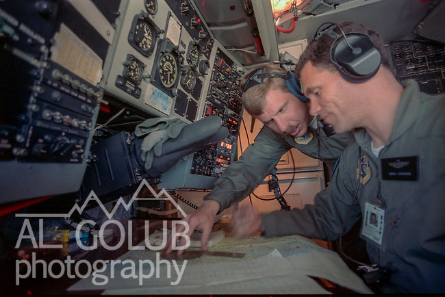 KC 135 refueling mission out of Castle Air Force Base on May 05, 1988.  Refueling was done some where over Oregon and Southern Washington. Photo By Al Golub<br /> <br /> Capt. Greg Cannava Navigator <br /> <br /> Castle is named for Brigadier General Frederick W. Castle, who died on Dec. 24, 1944 flying his 30th bombing mission. He died leading an armada of 2000 B-17s on a strike against German airfields. On the way to the target, an engine failure over Liege, Belgium caused his bomber to fall behind, where it was attacked by Germans and caught fire. He ordered his men to bail out but stayed alone at the controls of the flaming Flying Fortress until it crashed. The entire crew, except Gen. Castle and one airman killed before the bailout order, survived. Gen. Castle received a Medal of Honor posthumously for his bravery.<br /> <br /> Castle became home to the 93rd Bombardment Wing in 1947. Aircraft stationed at Castle included B-29, B-17 and C-54 aircraft, with B-50 bombers arriving in 1949. In 1954, B-47 bombers arrived.  On June 29, 1955, Castle received the Air Force's first B-52. These heavy bombers can hold the equivalent of three railroad cars' worth of fuel. The first Air Force KC-135 jet tanker arrived May 18, 1957<br /> <br /> Castle was selected for closure under the Defense Base Closure and Realignment Act of 1990 during Round II Base Closure Commission deliberations (BRAC 91). The last of the B-52s left the base in 1994, followed by the departure of the last of the KC-135s in early 1995. The base closed September 30, 1995.