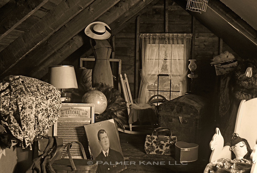 Old unwanted items in an attic in an old photo,