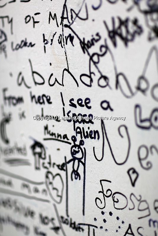Wednesday 28 May 2014, Hay on Wye, UK<br /> Pictured: I See a Space Alien writen on the The Abandoned Soldier, Do You See What I See board <br /> Re: The Hay Festival, Hay on Wye, Powys, Wales UK.