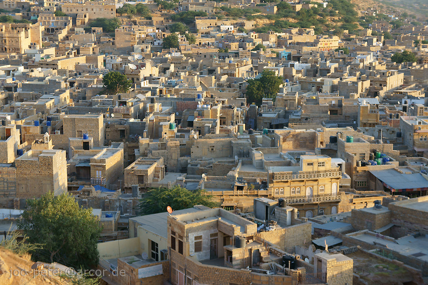 view on Jaisalmer city in early morning, Rajastan, India. Viewpoint on the walls of Jaisalmer Fort