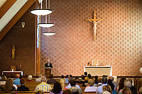 "Canonical adviser Peter Borre, of Naples, Florida, delivers a speech called ""Ite, Missa est - A Chapter Ends, Another Chapter Begins"" at St. Frances Xavier Cabrini Church in Scituate, Mass., on Sun., May 29, 2016. The speech included information about this church's recent history and overall trends in contemporary Catholicism. Members of the congregation have been holding a vigil for more than 11 years after the Archdiocese of Boston ordered the parish closed in 2004. For 4234 days, at least one member of Friends of St. Frances X. Cabrini has been at the church at all times, preventing the closure of the church. May 29, 2016, was the last service held at the church after members finally agreed to leave the building after the US Supreme Court decided not to hear their appeal to earlier an Massachusetts court ruling stating that they must leave. The last service was called a ""transitional mass"" and was the first sanctioned mass performed at the church since the vigil began."