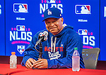 7 October 2016: Los Angeles Dodgers Manager Dave Roberts addresses the media prior to the first game of the NLDS against the Washington Nationals at Nationals Park in Washington, DC. The Dodgers edged out the Nationals 4-3 to take the opening game of their best-of-five series. Mandatory Credit: Ed Wolfstein Photo *** RAW (NEF) Image File Available ***