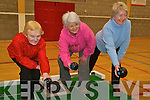 BOWLED OVER: Mary Murphy, Eileen McGillycuddy and Patricia Newham who are members of the new Killorglin Bowling Club in action in the Killorglin sports complex on Friday.   Copyright Kerry's Eye 2008