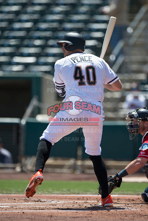 Sacramento RiverCats right fielder Hunter Pence (40) at bat on a rehab assignment during a Pacific Coast League against the Tacoma Rainiers at Raley Field on May 15, 2018 in Sacramento, California. Tacoma defeated Sacramento 8-5. (Zachary Lucy/Four Seam Images)