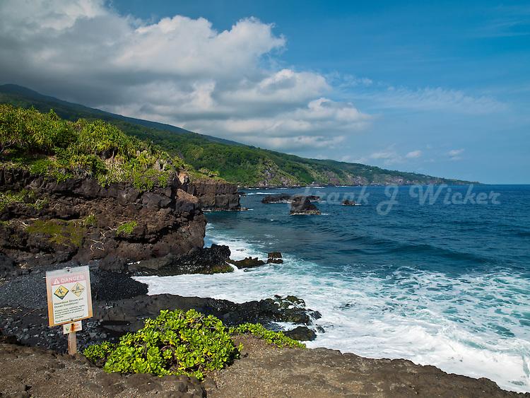 Ohe'o Gulch empties into the Pacific Ocean near Kipahulu in HALEAKALA NATIONAL PARK on Maui in Hawaii USA