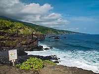 Ohe'o Gulch empties into the Pacific Ocean near Kipahulu in HALEAKALA NATIONAL PARK on Maui in Hawaii USA