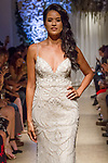 "Model walks runway in a bridal gown from the Matthew Christopher 2018 ""Perennial Bliss"" collection at 325 West 38 Street on October 7, 2017 during New York Bridal Fashion Week."