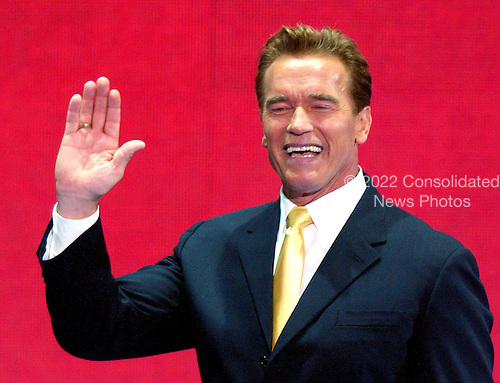 New York, NY - August 31, 2004 --  Governor Arnold Schwarzenegger (Republican of California) speaks at the 2004 Republican Convention in Madison Square Garden in New York on Monday, August 30, 2004..Credit: Ron Sachs / CNP.(RESTRICTION: No New York Metro or other Newspapers within a 75 mile radius of New York City)