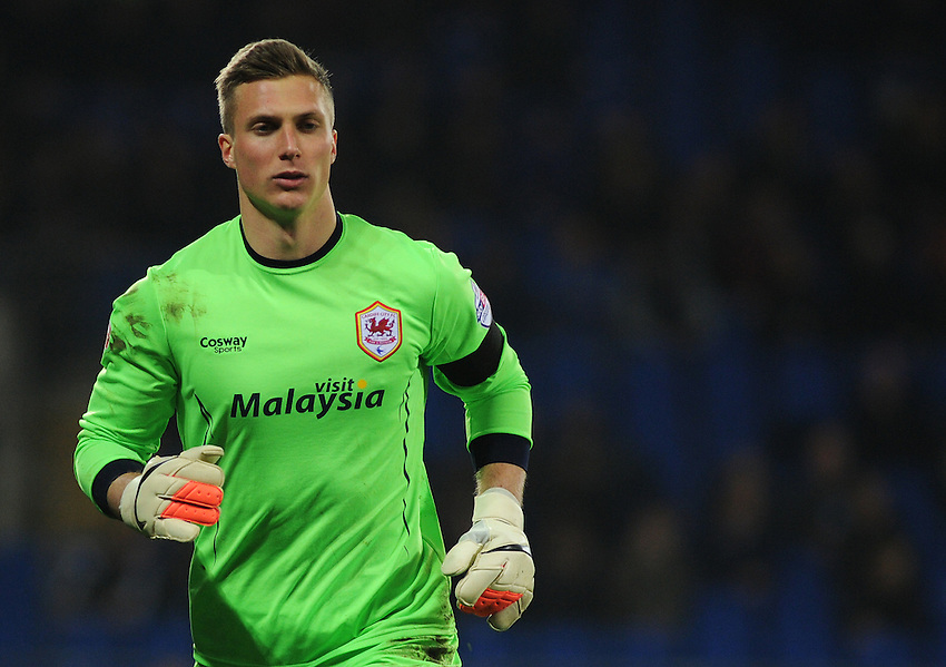 Cardiff City's Simon Moore in action during todays match  <br /> <br /> Photographer Kevin Barnes/CameraSport<br /> <br /> Football - The Football League Sky Bet Championship - Cardiff v Bournemouth - Tuesday 17th March 2015 - Cardiff City Stadium - Cardiff<br /> <br /> &copy; CameraSport - 43 Linden Ave. Countesthorpe. Leicester. England. LE8 5PG - Tel: +44 (0) 116 277 4147 - admin@camerasport.com - www.camerasport.com