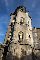 Europe, France, Aquitaine, Pyrénées-Atlantiques, Béarn, Sarrance, Clocher de l'église Notre-Dame // Europe, France, Aquitaine, Pyrenees Atlantiques, Bearn, Sarrance, Sarrance Monastic Church Bell tower
