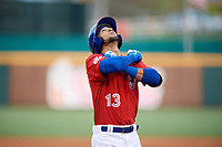 Buffalo Bisons shortstop Lourdes Gurriel Jr. (13) looks skyward as he crosses home plate after hitting a grand slam home run in the bottom of the fourth inning during a game against the Scranton/Wilkes-Barre RailRiders on May 18, 2018 at Coca-Cola Field in Buffalo, New York.  Buffalo defeated Scranton/Wilkes-Barre 5-1.  (Mike Janes/Four Seam Images)