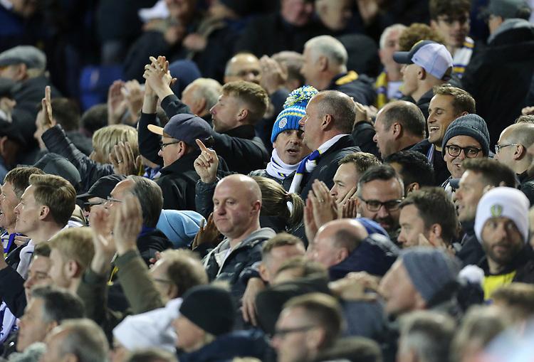 Leeds United fans celebrate at the final whistle<br /> <br /> Photographer Rich Linley/CameraSport<br /> <br /> The EFL Sky Bet Championship - Tuesday 1st October 2019  - Leeds United v West Bromwich Albion - Elland Road - Leeds<br /> <br /> World Copyright © 2019 CameraSport. All rights reserved. 43 Linden Ave. Countesthorpe. Leicester. England. LE8 5PG - Tel: +44 (0) 116 277 4147 - admin@camerasport.com - www.camerasport.com