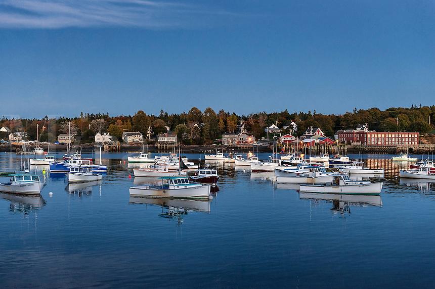 Charming fishing village at dusk, Bass Harbor, Maine, USA