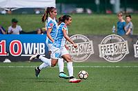 Kansas City, MO - Wednesday August 16, 2017: Alex Morgan, Marta Vieira Da Silva during a regular season National Women's Soccer League (NWSL) match between FC Kansas City and the Orlando Pride at Children's Mercy Victory Field.