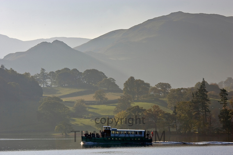 Ferry on Lake Ullswater, Lake District, England, United Kingdom