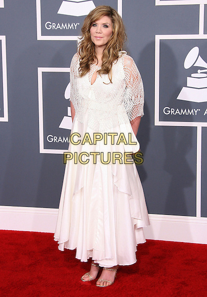 Alison Kraus.The 54th Annual GRAMMY Awards held at the Staples Center, Los Angeles, California, USA..February 12th, 2012.full length white dress crochet.CAP/ADM.©AdMedia/Capital Pictures.