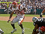 Cincinnati Bengals running back Corey Dillion (28) makes touchdown on Sunday, September 14, 2003, in Oakland, California. The Raiders defeated the Bengals 23-20.
