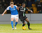 16th March 2018, McDiarmid Park, Perth, Scotland; Scottish Premier League football, St Johnstone versus Hibernian; Marvin Bartley of Hibernian and Liam Craig of St Johnstone challenge for the ball