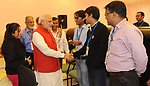 (140924) -- BANGALORE, Sept. 24, 2014 () -- Indian Prime Minister Narendra Modi (3rd L) greets scientists after the Mars Orbiter spacecraft successfully entered the Mars orbit at the Indian Space Research Organisation's Telemetry, Tracking and Command Network in Bangalore, India, Sept. 24, 2014. India Wednesday scripted history by becoming the world's first country to reach Mars in its maiden attempt. (/Indian Press Information Bureau)