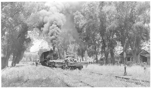 #360 switching yard with scrap train.<br /> D&amp;RGW  Cimarron, CO  Taken by Richardson, Robert W. - 7/7/1949