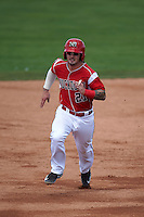 Batavia Muckdogs second baseman Taylor Munden (21) running the bases during a game against the State College Spikes August 23, 2015 at Dwyer Stadium in Batavia, New York.  State College defeated Batavia 8-2.  (Mike Janes/Four Seam Images)