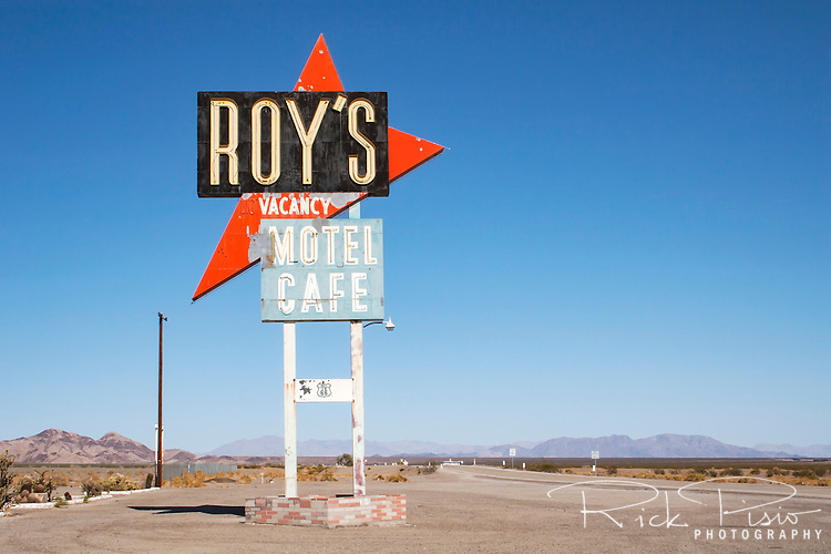 Located on historic Route 66 in Amboy, California, Roy's is a well known stop while traveling through the Mojave desert. Featured in numerous movies the site has become an icon for the lonely desert gas stop.
