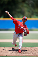 GCL Phillies West starting pitcher Jose Conopoima (55) delivers a pitch during a game against the GCL Blue Jays on August 7, 2018 at Bobby Mattick Complex in Dunedin, Florida.  GCL Blue Jays defeated GCL Phillies West 11-5.  (Mike Janes/Four Seam Images)