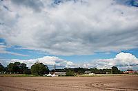 Newly plowed farm field in summer, Smicz, Prudnik, Southern Poland