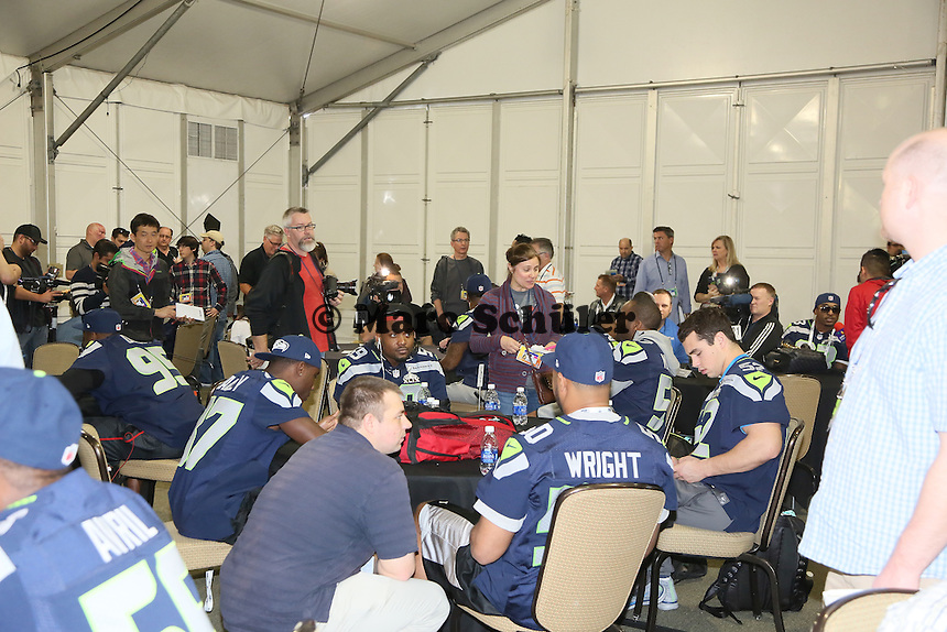 Medienauflauf bei der Team-PK der Seattle Seahawks - Super Bowl XLIX Seattle Seahakws Team-PK, Arizona Grand Hotel