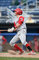 Williamsport Crosscutters third baseman Derek Campbell (9) at bat during the second game of a doubleheader against the Batavia Muckdogs on July 29, 2014 at Dwyer Stadium in Batavia, New York.  Batavia defeated Williamsport 1-0 in 11 innings.  (Mike Janes/Four Seam Images)