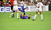 WASHINGTON, DC - AUGUST 24: Orlando Pride forward Marta (Marta Vieira da Silva) (10) lies on the ground after getting knocked down during the National Women's Soccer League (NWSL) game between the Orlando Pride and Washington Spirit August 24, 2019 at Audi Field in Washington, D.C.. (Photo by Randy Litzinger/Icon Sportswire)