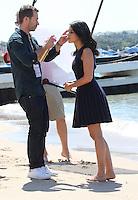 Leila Bekhti during a photoshoot  on the beach - 67th Cannes Film Festival - France