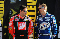 Nov. 16, 2008; Homestead, FL, USA; NASCAR Sprint Cup Series former champions Tony Stewart (left) and Kurt Busch during the Ford 400 at Homestead Miami Speedway. Mandatory Credit: Mark J. Rebilas-