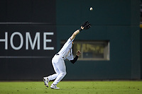 Charlotte Knights left fielder Charlie Tilson (1) catches a fly ball during the game against the Durham Bulls at BB&T BallPark on July 31, 2019 in Charlotte, North Carolina. The Knights defeated the Bulls 9-6. (Brian Westerholt/Four Seam Images)