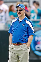 January 01, 2012:  Peyton Manning watches from the sideline prior to the start of the action between the Jacksonville Jaguars and the Indianapolis Colts played at EverBank Field in Jacksonville, Florida.  ........