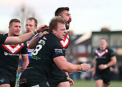 3rd February 2019, Trailfinders Sports Ground, London, England; Betfred Super League rugby, London Broncos versus Wakefield Trinity; Eddie Battye of London Broncos celebrates his try with Will Lovell of London Broncos