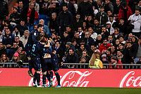 23rd November 2019; Estadio Santiago Bernabeu, Madrid, Spain; La Liga Football, Real Madrid versus Real Sociedad; Willian Jose (Real Sociedad)  celebrates his goal with team mates which made it 0-1 - Editorial Use