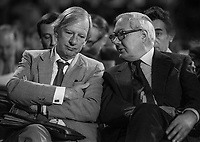 Labour MPs Peter Shore and James Callaghan chatting during an interval in the procedings at 1982 annual party conference. September, 1982, 198209000171PS+JC<br /><br />Copyright Image from Victor Patterson, 54 Dorchester Park, <br />Belfast, UK, BT9 6RJ<br /><br />t1: +44 28 9066 1296 (from Rep of Ireland 048 9066 1296)<br />t2: +44 28 9002 2446 (from Rep of Ireland 048 9002 2446)<br />m: +44 7802 353836<br /><br />victorpatterson@me.com<br />www.victorpatterson.com<br /><br />Please see my Terms and Conditions of Use at VICTORPATTERSON.COM. It is IMPORTANT that you familiarise yourself with them.<br /><br />Images used on the Internet must be visibly watermarked i.e. &copy;VICTORPATTERSON.COM within the body of the image and copyright metadata must not be deleted. Images used on the Internet have a size restriction of 4kbs and are chargeable at the then current NUJ rates.<br /><br />This image is only available for the use of the download recipient i.e. television station, newspaper, magazine, book publisher, etc, and must not be passed on to any third party. It is also downloaded on condition that each and every usage is notified within 7 days to victorpatterson@me.com<br /><br />The right of Victor Patterson to be identified as the author is asserted in accordance with The Copyright Designs And Patents Act (1988).