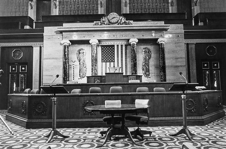 Empty House chamber on Sep. 10, 1991. (Photo by Maureen Keating/CQ Roll Call via Getty Images)