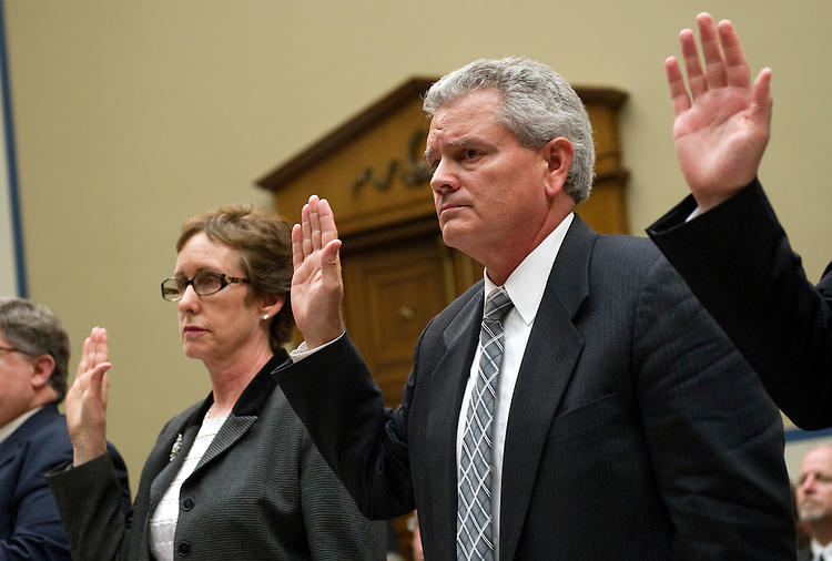 "UNITED STATES - APRIL 16: Former GSA Administrator Martha Johnson; and Jeff Neely, regional commissioner of the Public Buildings Service, Pacific Rim Region, are sworn-in before a House Oversight and Government Reform Committee hearing on ""Addressing the General Services Administration's (GSA) Culture of Wasteful Spending."" Neely took the 5th amendment and refused to answer questions. (Photo By Chris Maddaloni/CQ Roll Call)"