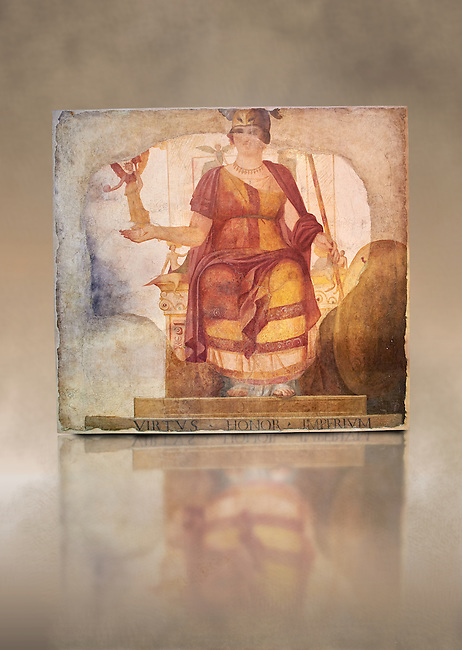 "Fresco of Venus sitting restored as Roma  known as the ""Dea Barberini"" (""Barberini goddess""), dating from the first quarter of the fourth century. A.D, excavated near to Baptistery of St. John Lateran , Rome Museo Nazionale Romano ( National Roman Museum), Rome, Italy. Against an art background."