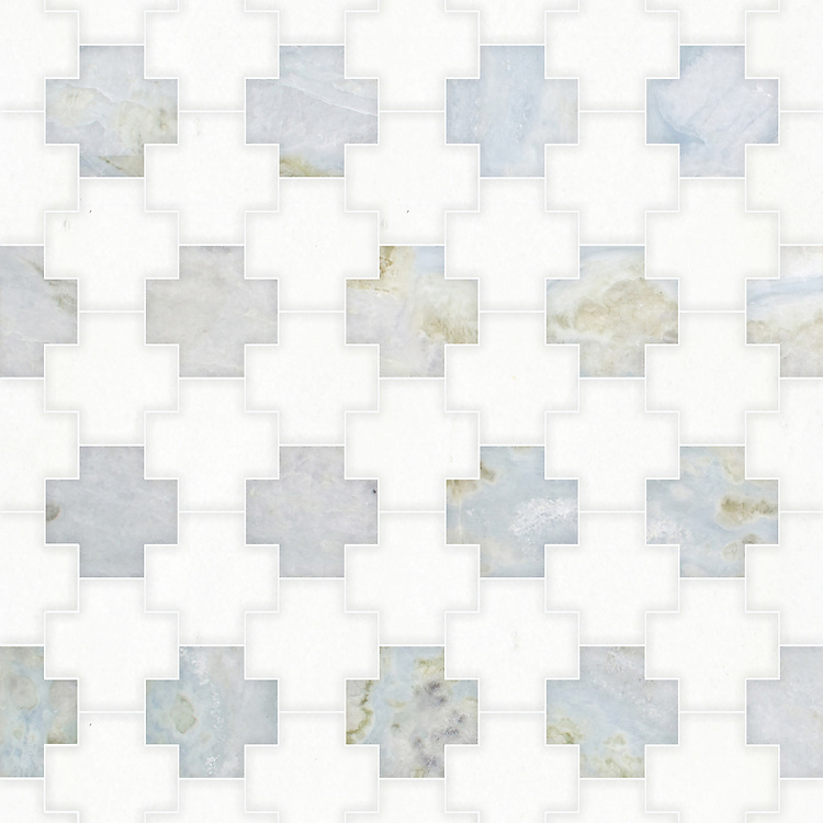 Addison, a waterjet cut stone mosaic, shown in polished Azure and Thassos, is part of the Semplice® collection for New Ravenna.