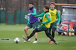 17.01.2020, Trainingsgelaende am wohninvest WESERSTADION,, Bremen, GER, 1.FBL, Werder Bremen Training ,<br /> <br /> <br />  im Bild<br /> <br /> Nuri Sahin (Werder Bremen #17)<br /> Simon Straudi (Werder Bremen #26)<br /> Joshua Sargent (Werder Bremen #19)<br /> <br /> Foto © nordphoto / Kokenge