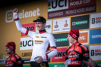 Final World Cup Classifications podium with World Cup winner Toon Aerts (BEL/Telenet Baloise Lions), runner-up Eli Iserbyt (BEL/Marlux-Bingoal) and 3th place for Michael Vanthourenhout (BEL/Pauwels Sauzen - Bingoal)<br /> <br /> Men Elite Race<br /> UCI Cyclocross Worldcup – Hoogerheide (Netherlands)<br /> <br /> ©kramon