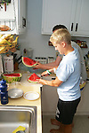 Leslie Smith Cutting Watermelon