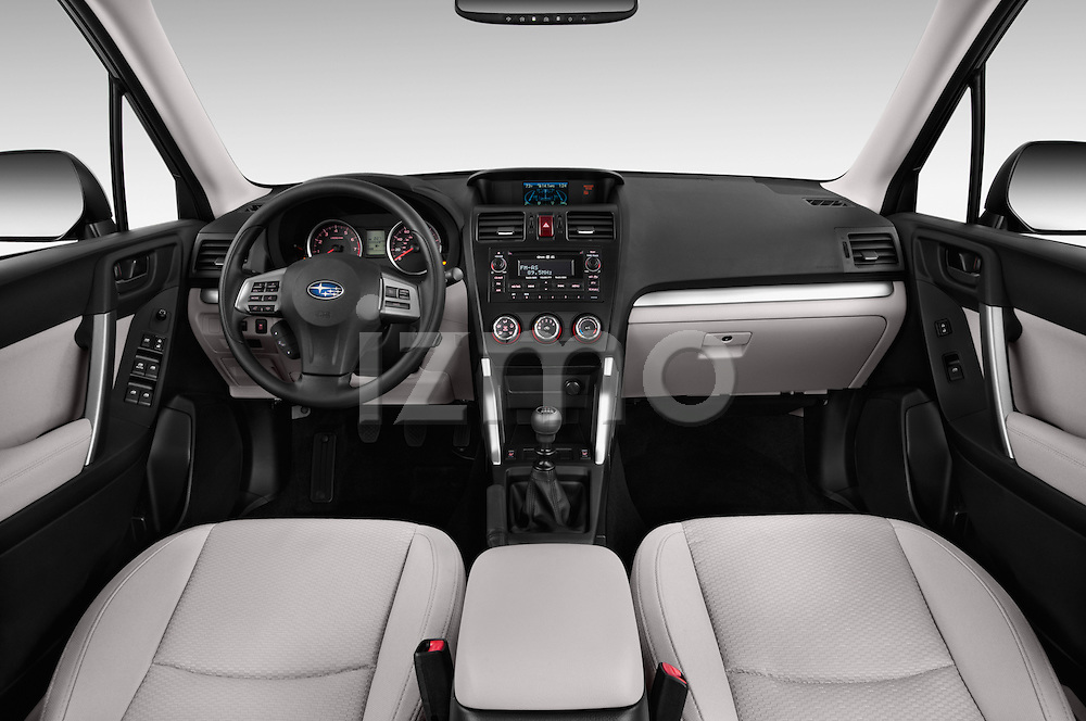 Stock photo of straight dashboard view of a 2015 Subaru Forester 2.5I Pzev 5 Door SUV