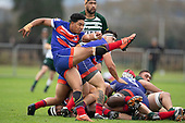 Katetistoti Nginingini puts in a clearing kick from a defensive ruck. Counties Manukau Premier Club Rugby game between Ardmore Marist and Manurewa, played at Bruce Pulman Park Papakura on Saturday May 12th 2018. Ardmore Marist won the game 20 - 3 after leading 17 - 3 at halftime.<br /> Ardmore Marist - Katetistoti Nginingini try, penalty try, Latiume Fosita conversion, Latiume Fosita 2 penalties.<br /> Manurewa - Logan Fonoti penalty.<br /> Photo by Richard Spranger.